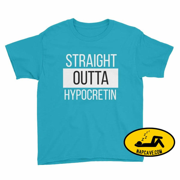 Straight Outta Hypocretin Youth Short Sleeve T-Shirt Caribbean Blue / XS Youth Shirt The NapCave Straight Outta Hypocretin Youth Short