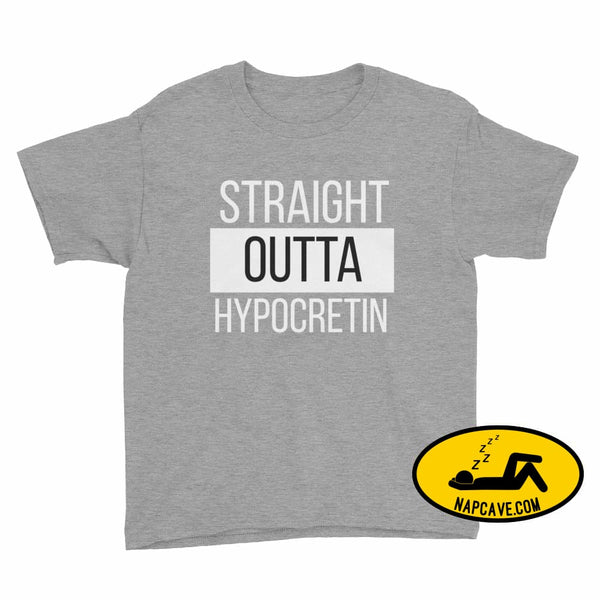 Straight Outta Hypocretin Youth Short Sleeve T-Shirt Heather Grey / XS Youth Shirt The NapCave Straight Outta Hypocretin Youth Short Sleeve