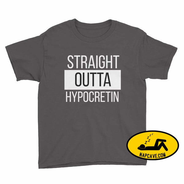 Straight Outta Hypocretin Youth Short Sleeve T-Shirt Charcoal / XS Youth Shirt The NapCave Straight Outta Hypocretin Youth Short Sleeve