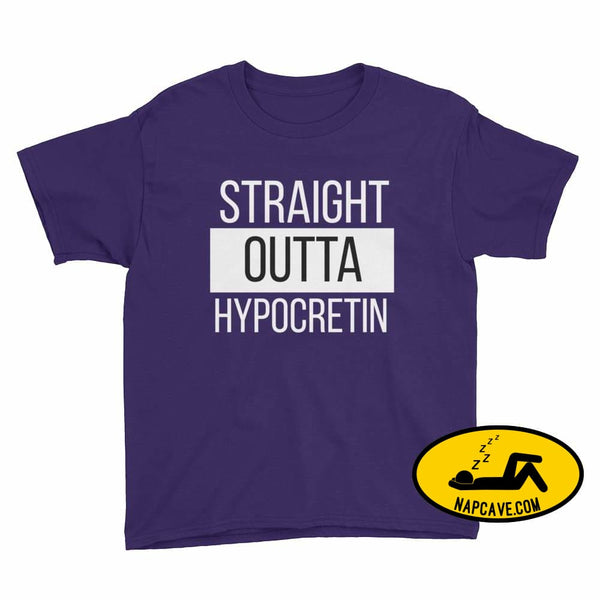 Straight Outta Hypocretin Youth Short Sleeve T-Shirt Purple / XS Youth Shirt The NapCave Straight Outta Hypocretin Youth Short Sleeve
