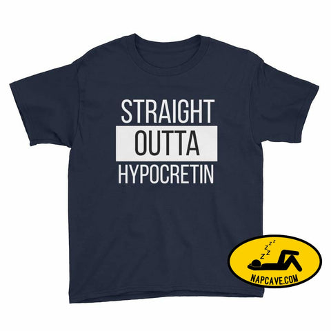 Straight Outta Hypocretin Youth Short Sleeve T-Shirt Navy / XS Youth Shirt The NapCave Straight Outta Hypocretin Youth Short Sleeve T-Shirt