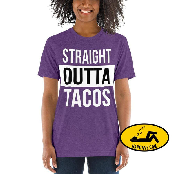 Straight OUTTA Tacos -shirt Purple Triblend / XS The NapCave Straight OUTTA Tacos -shirt I like tacos Mexican food napcave shirt Straight