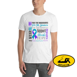 Suicide Prevention Awareness Purple and Teal Ribbon and Word Cloud Short-Sleeve Unisex T-Shirt S Shirt The NapCave Suicide Prevention