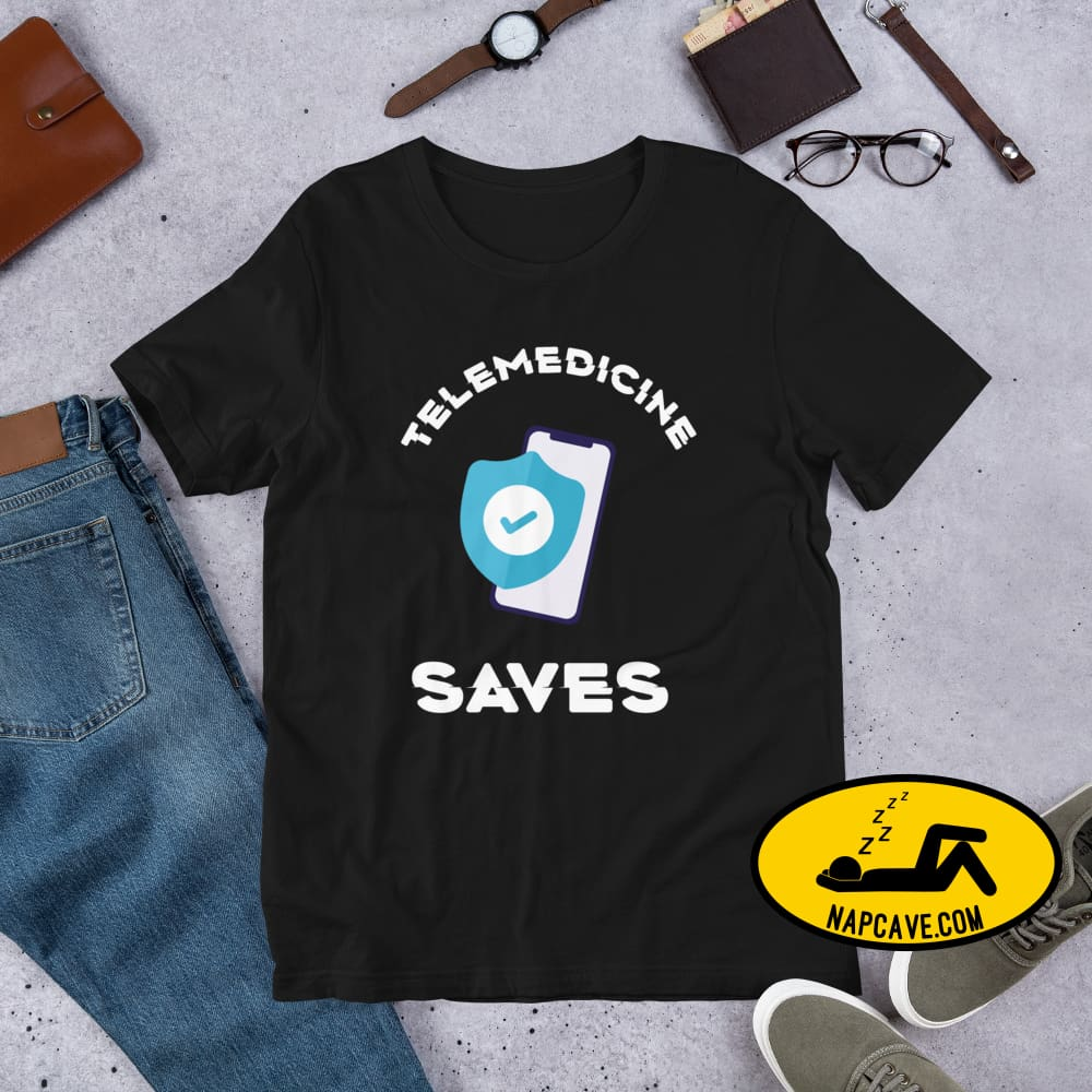 Telemedicine Saves Short-Sleeve Unisex T-Shirt Black / XS The NapCave Telemedicine Saves Short-Sleeve Unisex T-Shirt coronavirus, covid-19,