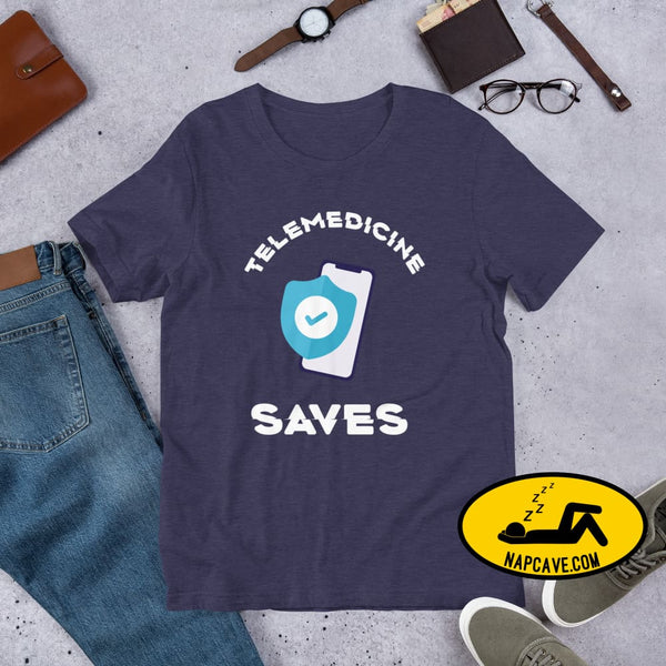 Telemedicine Saves Short-Sleeve Unisex T-Shirt Heather Midnight Navy / XS The NapCave Telemedicine Saves Short-Sleeve Unisex T-Shirt