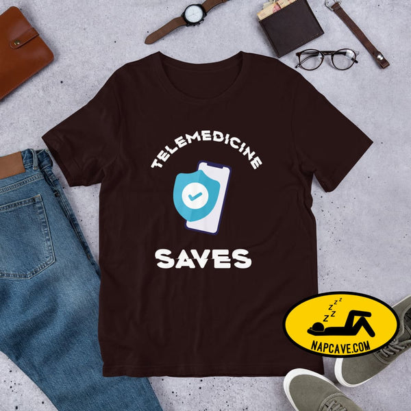 Telemedicine Saves Short-Sleeve Unisex T-Shirt Oxblood Black / S The NapCave Telemedicine Saves Short-Sleeve Unisex T-Shirt coronavirus,