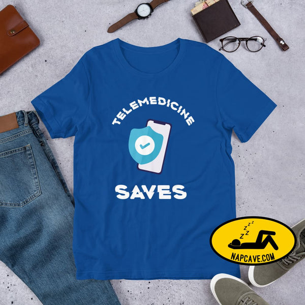 Telemedicine Saves Short-Sleeve Unisex T-Shirt True Royal / S The NapCave Telemedicine Saves Short-Sleeve Unisex T-Shirt coronavirus,