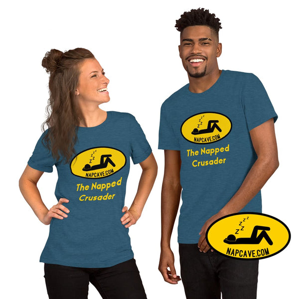 The Napped Crusader Nap Signal Short-Sleeve Unisex T-Shirt Heather Deep Teal / S The NapCave The Napped Crusader Nap Signal Short-Sleeve