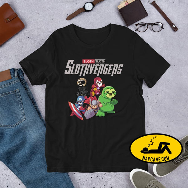 The SlothVengers (sloths whom are Avengers) Short-sleeve Unisex T-Shirt Black / XS Shirt The NapCave The SlothVengers (sloths whom are