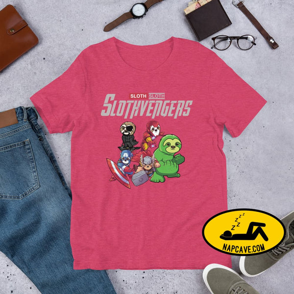 The SlothVengers (sloths whom are Avengers) Short-sleeve Unisex T-Shirt Heather Raspberry / S Shirt The NapCave The SlothVengers (sloths