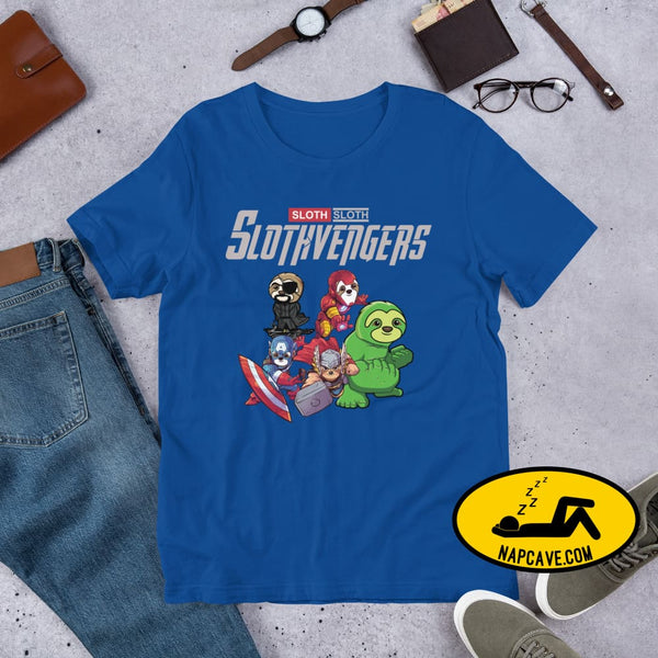 The SlothVengers (sloths whom are Avengers) Short-sleeve Unisex T-Shirt True Royal / S Shirt The NapCave The SlothVengers (sloths whom are