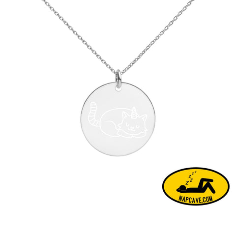 Unicat sweet Dreams Engraved Silver Disc Necklace White Rhodium coating The NapCave Unicat sweet Dreams Engraved Silver Disc Necklace