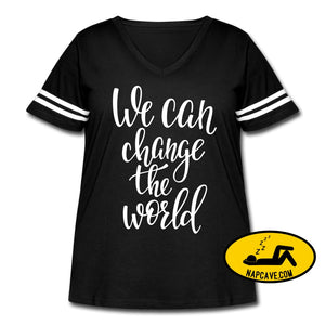 We Can Change the World Womens Curvy Vintage Sport T-Shirt black/white / 1 (14-16) Womens Curvy Vintage Sport T-Shirt SPOD We Can Change the