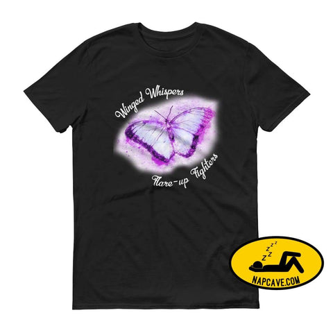 Winged Whispers Flare Fighters tee Black / S The NapCave Winged Whispers Flare Fighters tee butterfly Chronic pain fibro Fibromyalgia