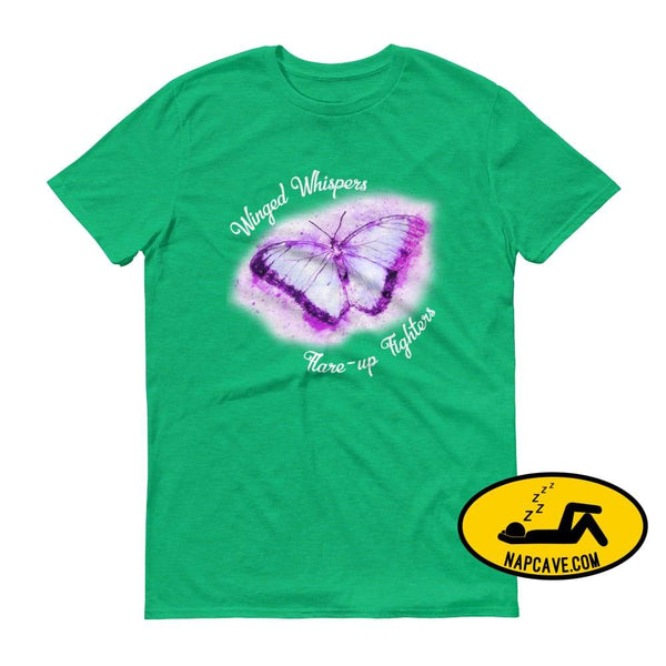 Winged Whispers Flare Fighters tee Heather Green / S The NapCave Winged Whispers Flare Fighters tee butterfly Chronic pain fibro