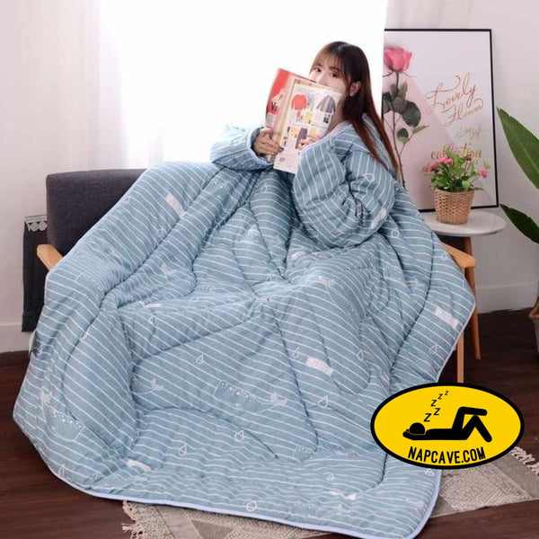 Winter Lazy Quilt With Sleeves Family Comforters Blanket Cape Printed Cloak Nap Covered Blanket Dormitory Mantle Covered Blanket 120X160CM /