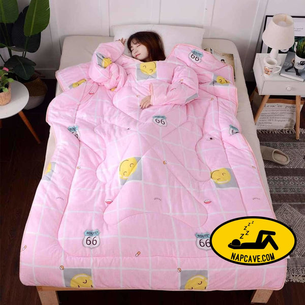 Winter Lazy Quilt With Sleeves Family Comforters Blanket Cape Printed Cloak Nap Covered Blanket Dormitory Mantle Covered Blanket The NapCave