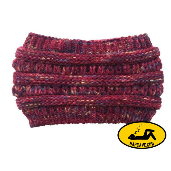Womens Girls Stretch Knitted Wool Crochet Hats Caps Messy Bun Ponytail Beanie Holey Warm Hat Winter Warm Cap Beanies Burgundy / One Size The
