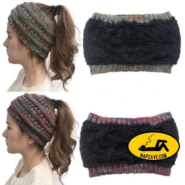 Womens Girls Stretch Knitted Wool Crochet Hats Caps Messy Bun Ponytail Beanie Holey Warm Hat Winter Warm Cap Beanies The NapCave Womens