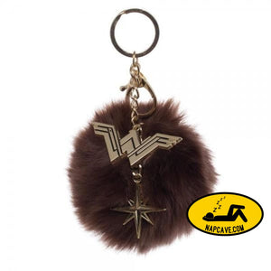 Wonder Woman Furry Pom Pom Handbag Charm Wonder Woman Wonder Woman Furry Pom Pom Handbag Charm mxed Wonder Woman