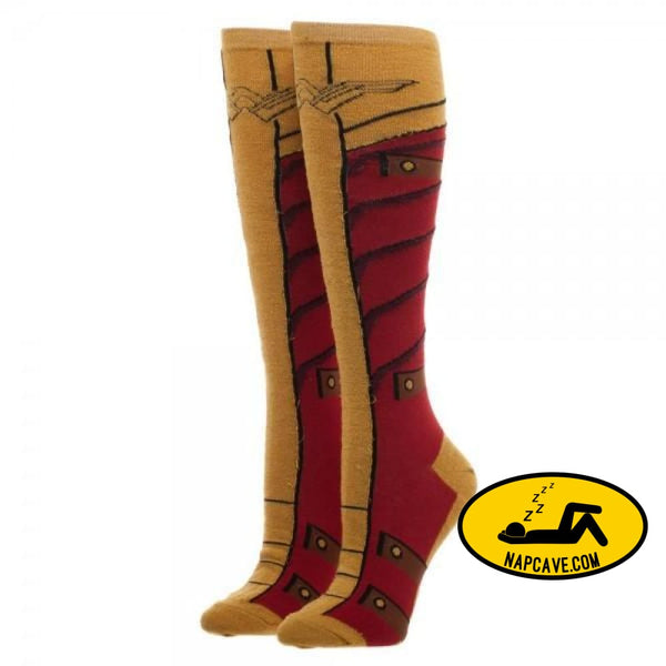 Wonder Woman Knee High Sock With Gold Lurex Yarn Wonder Woman Wonder Woman Knee High Sock With Gold Lurex Yarn mxed