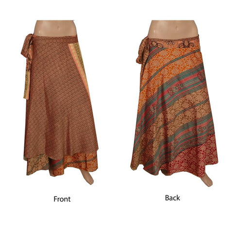 57a32d6d5d Silk Fabric Women Wraparound Long Skirt Printed Multi Color – color lane