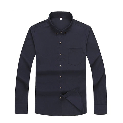 realmanswear.com_Long sleeve shirt men's fashion designer solid non iron slim fit business shirts