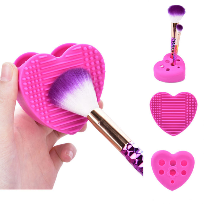 silicone beauty brush cleaner and holder in hot pink hearts