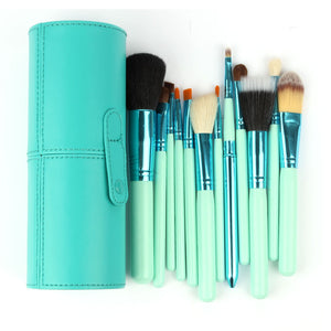 10 piece light blue pro makeup brushes with matching case