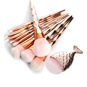 rose gold deluxe mermaid makeup brushes