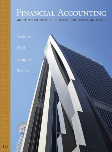 Student Solutions Manual for Stickney/Weil/Schipper/Francis' Financial Accounting: An Introduction to Concepts, Methods and Uses