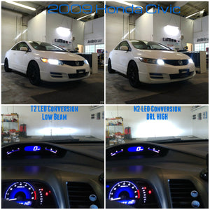 2009 Honda Civic T2 LED Conversion Low Beam  N2 LED Conversion High Beam