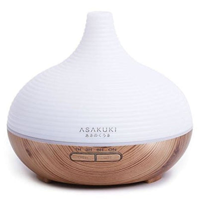 Asakuki 300Ml Premium Essential Oil Diffuser Quiet 5-In-1 Humidifier Natural Home Fragrance Diffuser With 7 Led Color Changing Light And