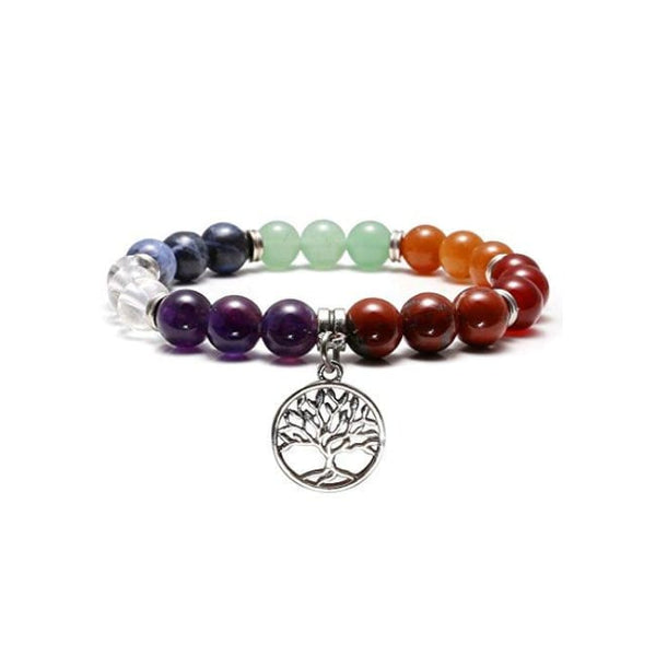 5b3103fc48800 JSDDE Men Women 7 Chakra Reiki Healing Crystal Natural Gemstone Prayer  Beaded Yoga Balancing Strechable Charm Bracelet 6.3  (Tree of Life Charm)  JSDDE Men ...