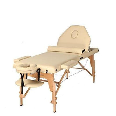 The Best Massage Table 3 Fold Reiki Portable Massage Table Free Half Bolster And Carry Case- Pu Leather (Cream) - Reiki & Massage Tables