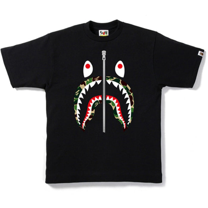 BAPE ABC Camo Silver Zip Shark Tee Black/Green
