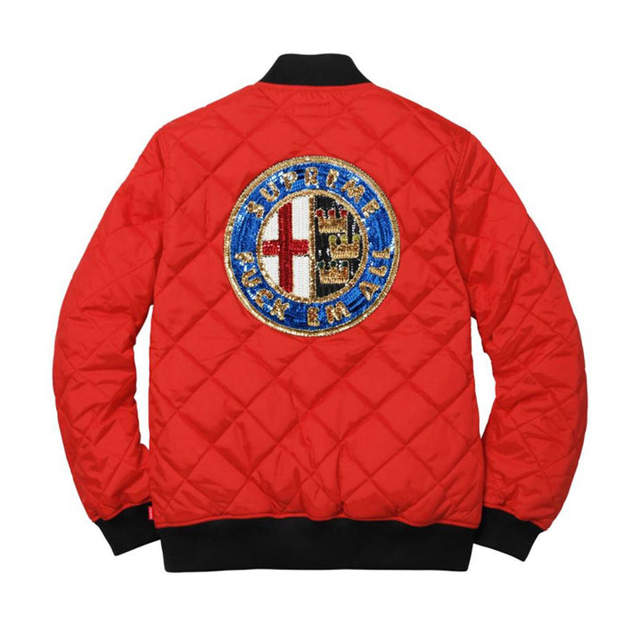 Supreme Sequin Patch Quilted Bomber Jacket Red