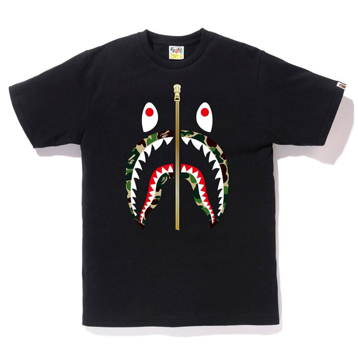 BAPE ABC Camo Gold Zip Shark Tee Black/Green
