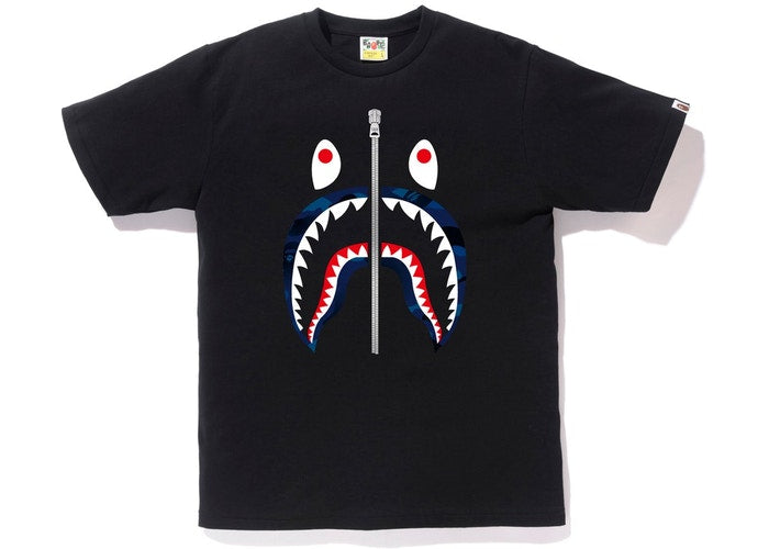 BAPE Gradation Camo Shark Tee Black/Navy