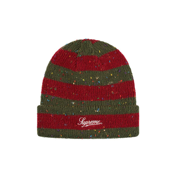 Supreme Stripe Speckle Beanie Red