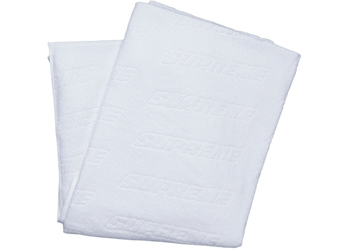 Supreme Debossed Beach Towel White