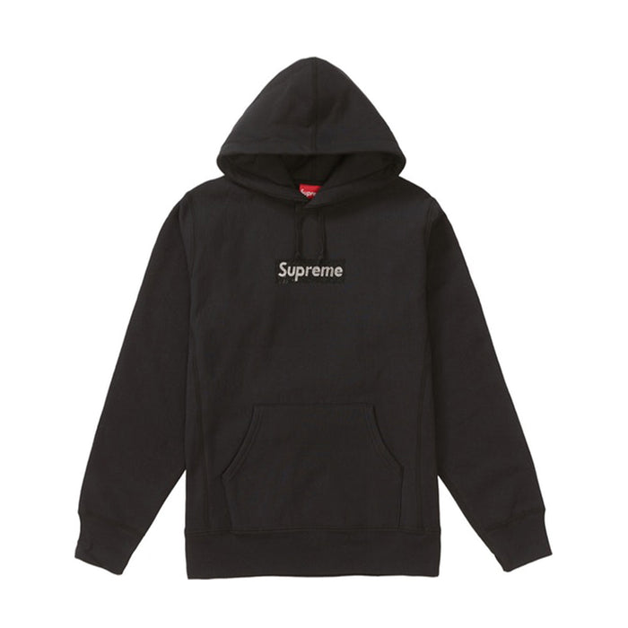 Supreme Swarovski Box Logo Hooded Sweatshirt Black