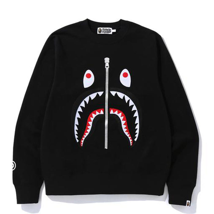 BAPE Felt Shark Crewneck Black