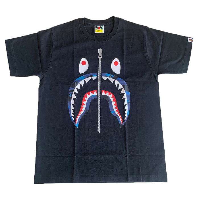 BAPE Camo Shark Tee Black/Baby Blue