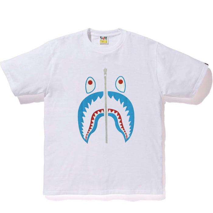 Bape Silver Zip Shark Tee White/Blue