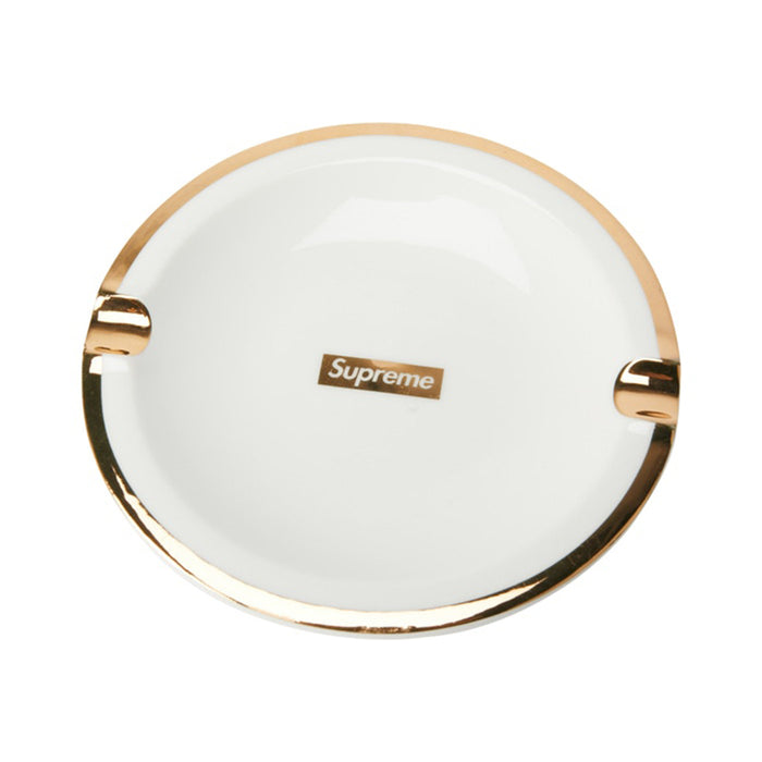 Supreme Gold Trim Ceramic Ashtray White