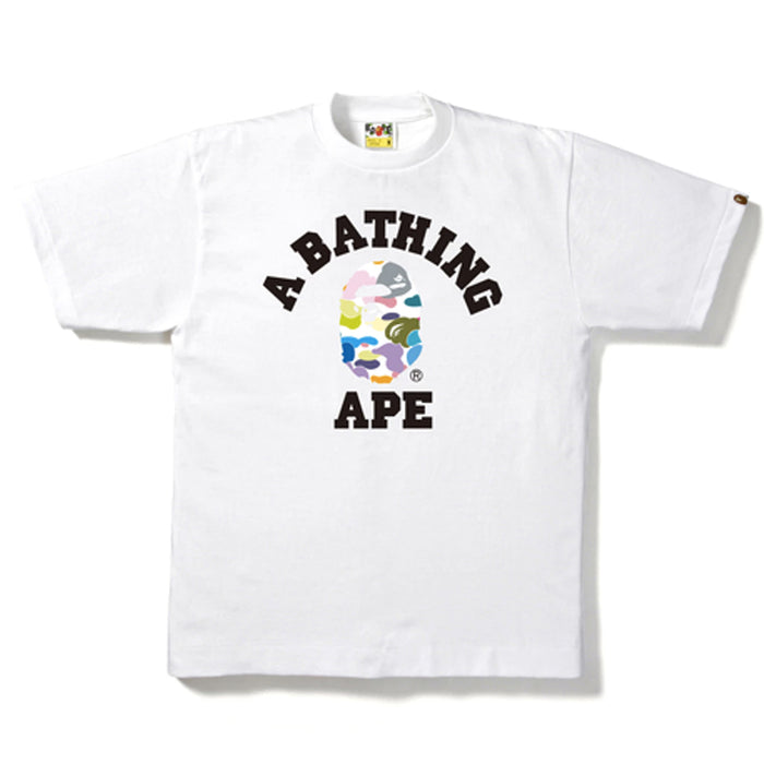 Bape Multi Camo College Tee White