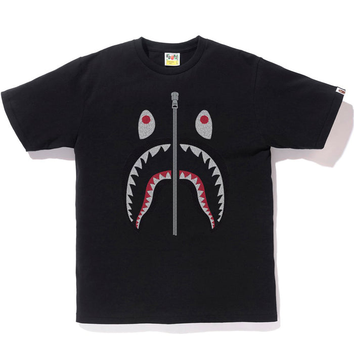 Bape Embroidery Style Shark Tee Black