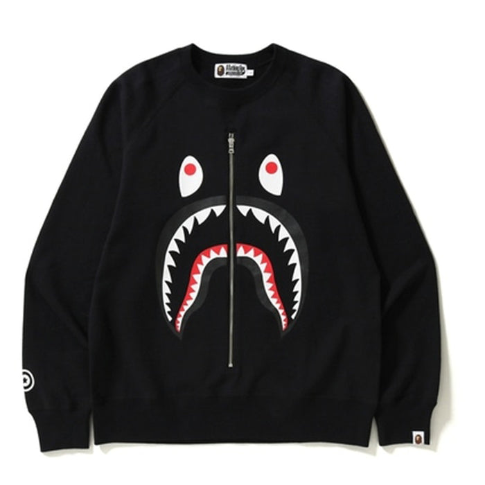 BAPE Shark Metal Zip Crewneck Black