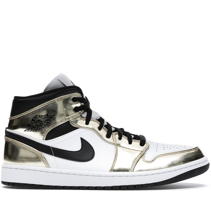 Jordan 1 Mid Metallic Gold Black White